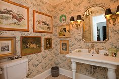 Rebecca Ray's steeplechase prints and shabby chic English Setter printed wall paper - Equestrian Stylist