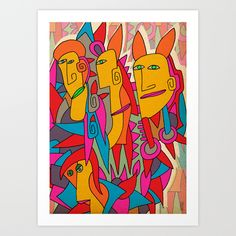 "Rabbits 28""x28"" Art print by Magdalla Del Fresto, $50.54.  https://society6.com/product/rabbits-w1e_print?curator=bestreeartdesigns"