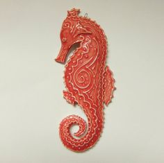 Seahorse decor..ornament..coral red with paisley design porcelain ceramic on Etsy, $23.00