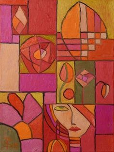 Red and Orange Art Deco Floral Feminine Abstract (Painting No. Oil on Canvas Geometric Art, Abstract Art Painting, Colorful Art, Art Painting Oil, Orange Art, Abstract Painting, Painting, Modern Abstract Painting, Art Deco Paintings