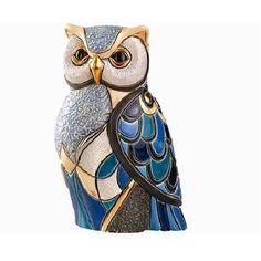 Ceramic Blue Owl Figurine   De Rosa Collection   Sculpture