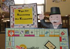 june book displays | library display on surviving the economy. (financial literacy display)