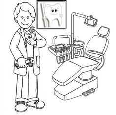 Dentists Coloring Pages to Educate Kids Need to Brush Teeth Regularly - Coloring Pages Preschool Coloring Pages, Cartoon Coloring Pages, Coloring For Kids, Coloring Pages For Kids, Coloring Books, Body Preschool, Preschool Activities, Space Activities, Tooth Cartoon