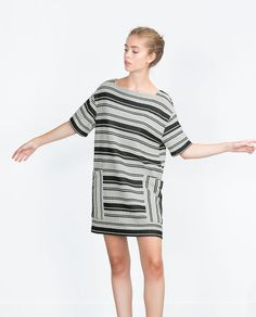 Image result for zara striped tunic dress with oversized pockets