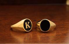 CUSTOM letter ring Signet Mens Ring Black Enamel Ring Mens