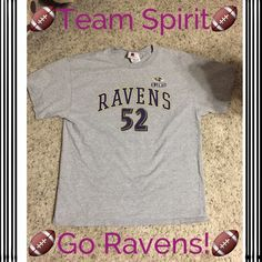 Baltimore Ravens 52 women's shirt size L Baltimore Ravens top with Ray Lewis 52 number gently used size large NFL Tops Tees - Short Sleeve
