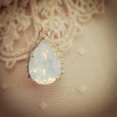 White opal Swarovski necklace Gold necklace by EldorTinaJewelry, $59.00