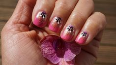 Nail Art Design Pink and Glitter Easy Tutorial for Beginners Spring Time