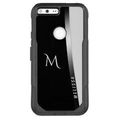 Elegant black white silver name and monogram OtterBox commuter google pixel XL case - trendy gifts cool gift ideas customize