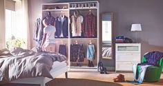 """Are you a piler, folder, hanger or all three?  Love the idea of organizing clothes into """"looks"""". IKEA Catalog 2015"""