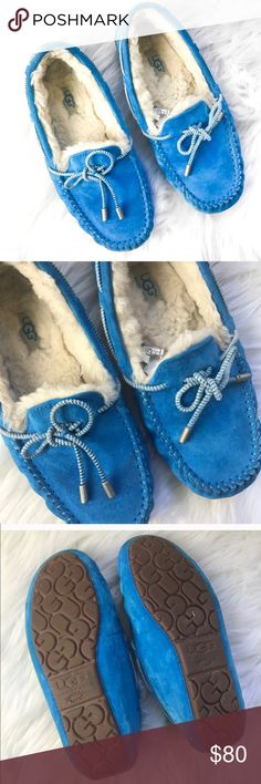 Blue UGG Moccasins Gently used with a few signs of wear! (Shown in the photos.) Perfect for the fall & winter months coming up. Size 7. Bundle for a discount. Reasonable offers are always welcome ✨ UGG Shoes Moccasins