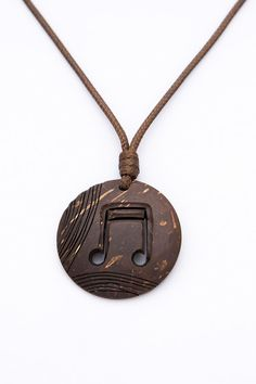 "ON SALE Music note Pendant ""Trip - Hop"" from Coconut Shell art pendant hand carved brown pendant unisex music pendant music jewelry music l Music Jewelry, Hippie Jewelry, Jewelry Art, Wire Jewelry, Wooden Necklace, Wooden Jewelry, Handmade Jewelry, Coconut Earrings, Coconut Shell Crafts"