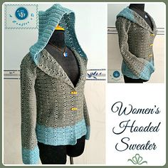 Crochet Cardigan Crochet women's hooded sweater / Crochet Sweatshirt - Free Pattern - Keep you warm in cold weather. Keep you warm in cold weather. Gilet Crochet, Crochet Coat, Crochet Jacket, Crochet Beanie, Crochet Cardigan, Crochet Scarves, Crochet Clothes, Crochet Sweaters, Crochet Braids
