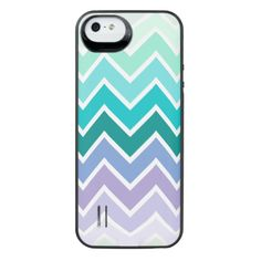 Teal Lilac Ombre Chevron Pattern Uncommon Power Gallery™ iPhone 5 Battery Case
