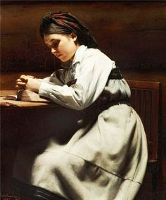 Carl Sundt-Hansen (1841 – 1907, Norwegian) - Young girl praying