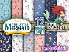 AWESOME Disney The Little Mermaid Digital Paper. Instant