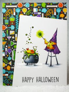 Card by Tammie Edgerton [(dies) My Favorite Things Die-Namics Blueprints (stamps) Stampingbella The Wizard, The Witch and the Cauldron Chicks] Halloween Images, Halloween Cards, Happy Halloween, Fall Cards, Christmas Cards, Wonderful Wednesday, Copics, Crafty Projects, Paper Background