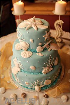 blue and white wedding cake. ocean theme