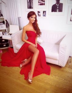 Honeymoon Red _ Price: $139.00 Charming Sweetheart Long Red Chiffon Prom Dresses, Evening Dresses ®... #{T.R.L.}