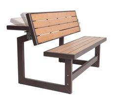 Chair Table Outdoor Furniture Convertible Bench Faux Wood Garden Patio Garden #Lifetime