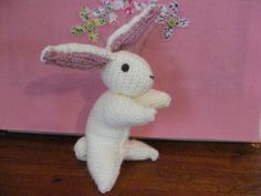 """Folk Art"" Rabbit, knitted by the very talented lady Roma Parry (My Boyfriend's mum) xxxxxx"