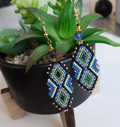 handmade earring with a natural blue pearl Japanese glass beads miyuki delicas hooks. Brick Stitch Earrings, Seed Bead Earrings, Beaded Earrings, Earrings Handmade, Beaded Jewelry, Beaded Bracelets, Peyote Bracelet, Seed Beads, Necklaces