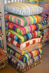 Deckchair Stripes floor cushions. The stack is its own work of art.