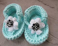 mint crochet baby flip flops