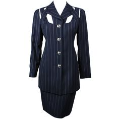 b456e244fa2 Gianni Versace Pinstriped Suit with Cut-Out Detailing