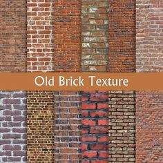 "Digital Paper pack: ""Old Brick Texture"" with red, brown, pink vintage bricks wall background, seamle"
