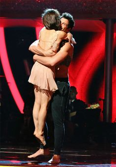 Meryl Davis and Maksim Chmerkovskiy react to being safe from elimination on #DWTS Week 10 (5/19/14)