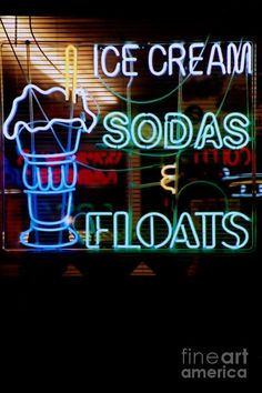 Cool Neon Signs, Neon Sign Art, Neon Light Signs, Soda Floats, Cream Soda, Ice Cream, Sign O' The Times, Neon Nights, Drink Signs