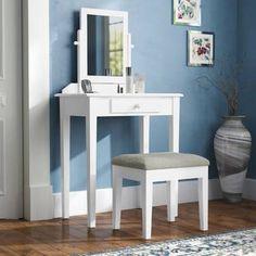 Charlton Home Asuncion Vanity Set with Mirror (Base/Top) Color: White/Gray Vanity Table Set, Vanity Set With Mirror, Home Design, Interior Design, Diy Makeup Vanity, Wooden Vanity, Upholstered Stool, Dressing Table Set, Girl Room