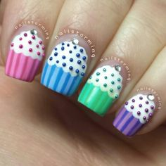 multi colour cupcake nails