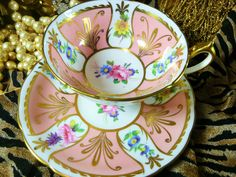 PARAGON  TEA CUP AND SAUCER PINK PANELS WITH HP FLOWERS LUSH GOLD TRIM 1960s #PARAGON