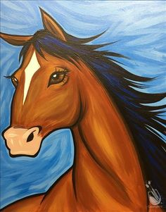 Pick a painting, invite your friends, and enjoy step-by-step instruction with our experienced and enthusiastic local artists. You'll leave with a one-of-a-kind creation and be ready to come back…More Click Visit link above for more options Simple Acrylic Paintings, Easy Paintings, Animal Paintings, Watercolor Paintings, Horse Paintings, Horse Canvas Painting, Kids Canvas Art, Canvas Ideas, Beginner Painting