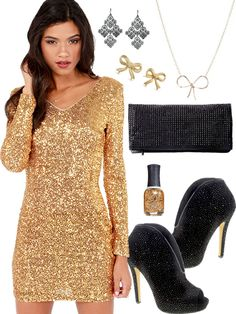 Gold Sequin New Years Eve Dress