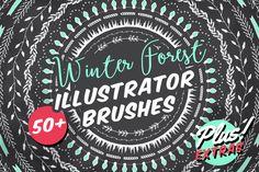 Winter Forest Illustrator Brushes by MarkieAnn Creative on Creative Market