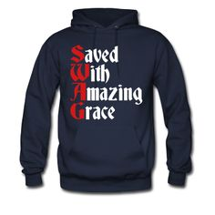 94166dc12 Saved With Amazing Grace (SWAG) Men s Hoodie - black