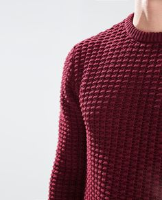 Mens Fashion Sweaters, Casual Wear For Men, Knitting Blogs, Zara Man, Red Sweaters, Mens Clothing Styles, Knitwear, Menswear, Cotton