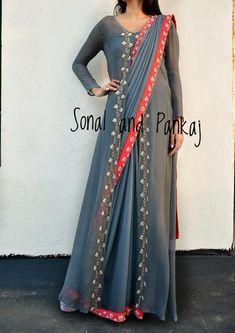 Grey Hand Work Saree With Designer Jacket - SA00231