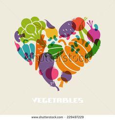 Vector color vegetables icon. Food sign in heart shape. Healthy lifestyle illustration for print, web. Original design element
