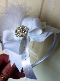 white hairband boutique bow with maribou
