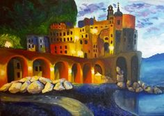 Amalfi Art - Atrani in acrylics, original painting on stretched canvas on wood frame. Original painting by Cristina-Vivi Iordache Acrylic Painting Lessons, Acrylic Painting Canvas, Painting & Drawing, Watercolor Paintings, Original Paintings, Acrylic Tutorials, Channel Art, Building Art, Fun At Work