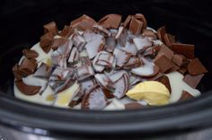 Terry's Chocolate Orange Slow Cooker Fudge Recipe - A Homemade & Edible Christmas Gift - ingredients in slow cooker