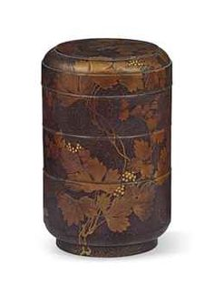 Lot Description A Japanese Jubako [Tiered Food Container] Of cylindrical  form with three tiers