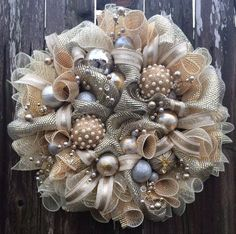 Champagne Gold I'm Dreaming of a Gold Christmas by BaBamWreaths