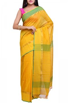 Mustard & Green Cotton Silk Maheshwari Saree