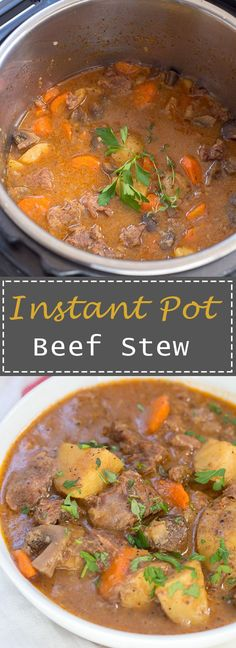No need to have a big pot of beef stew simmering all day when you can have Instant Pot Beef Stew ready in 45 minutes!  The beef is so tender it just falls apart and melts in your mouth – my favorite