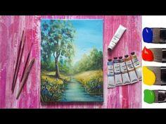 Рисуем дерево у реки акрилом - YouTube
